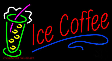 Red Ice Coffee with Glass Neon Sign
