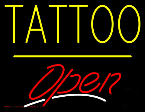 Tattoo Open Yellow Line Neon Sign