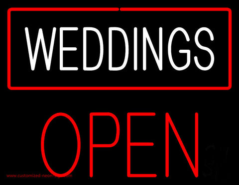 Weddings Block Open Red Neon Sign