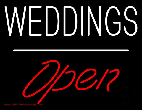 Weddings Open White Line  Neon Sign