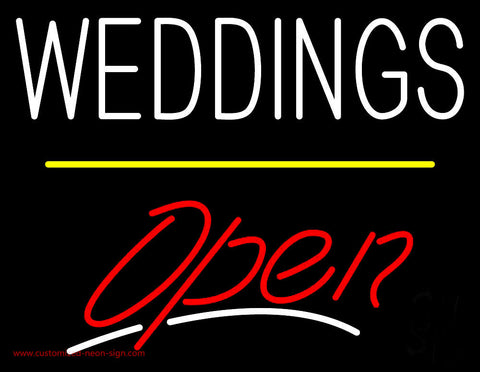 Weddings Open Yellow Line Neon Sign