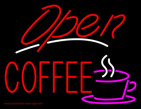 Red Open Coffee Neon Sign