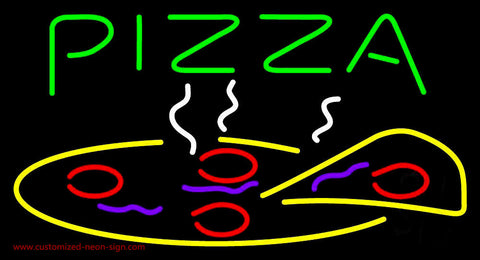 Green Pizza Logo Neon Sign