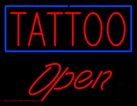 Red Tattoo Blue Border Open Neon Sign