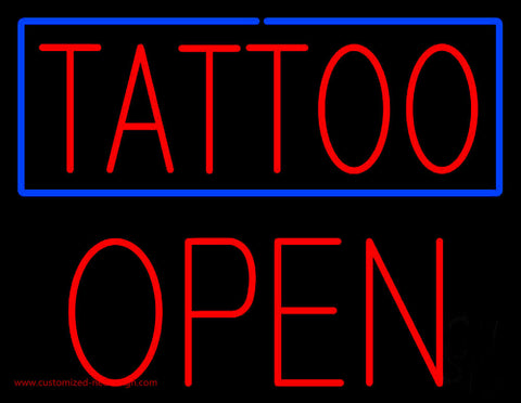 Red Tattoo Blue Border Block Open Neon Sign
