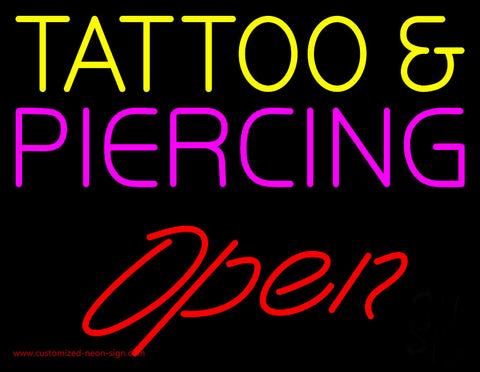 Tattoo and Piercing Red Slant Open Neon Sign