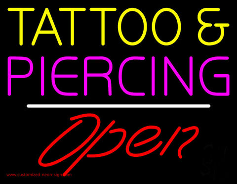 Tattoo and Piercing White Line Open Neon Sign
