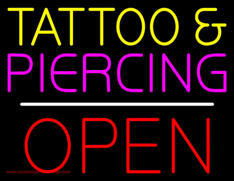 Tattoo and Piercing Block Open Neon Sign
