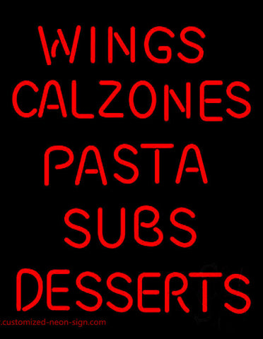 Wings Calzones Pasta Neon Sign