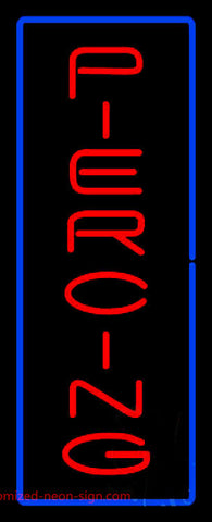 Vertical Red Piercing Yellow Border Neon Sign
