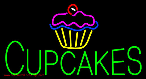 Green Cupcakes with Logo Neon Sign