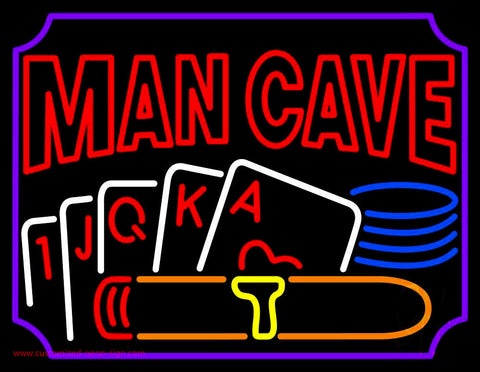 Mancave Beer With Cards Neon Sign