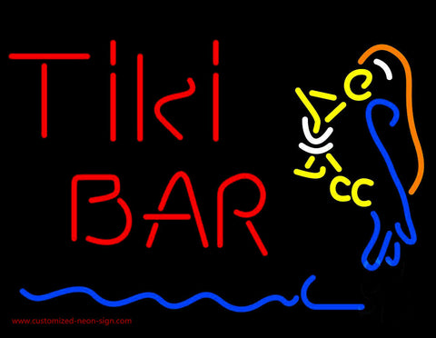 Red Tiki Bar With Parrot Martini Glass Neon Sign