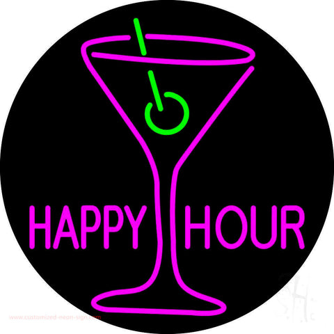 Pink Happy Hour With Wine Glass Neon Sign