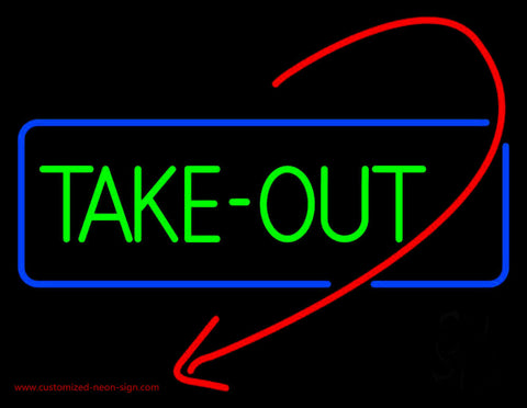 Take Out With Arrow Neon Sign