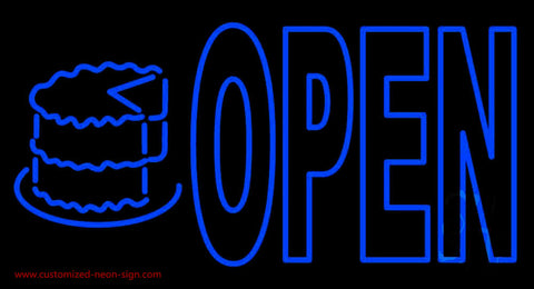 Bakery Open With Cake Neon Sign