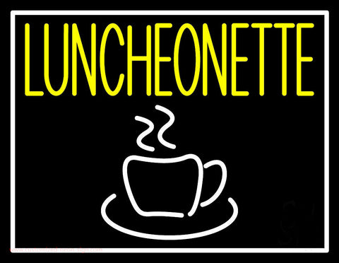 Luncheonette With Coffee Glass Neon Sign