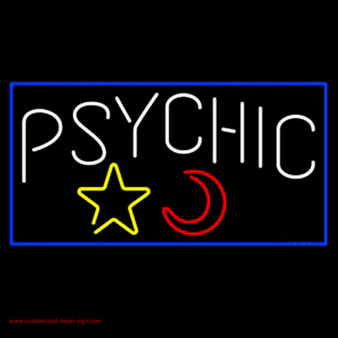 psychic with moon and star blue border neon sign