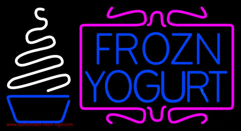 Pink N White Frozen Yogurt Neon Sign