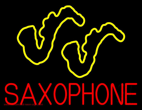Yellow Saxophones Neon Sign