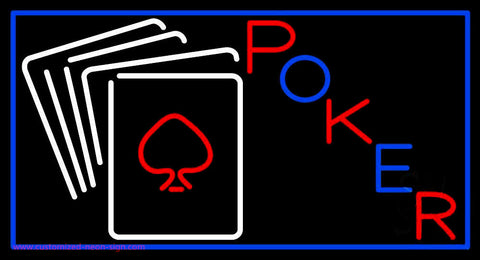 White Cards Poker Neon Sign