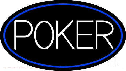 White Poker With Oval Neon Sign