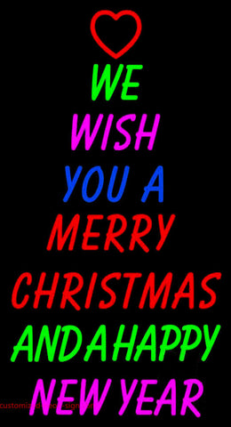 Wishing Merry Christmas Happy New Year Neon Sign