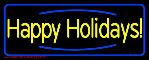 Yellow Happy Holidays Neon Sign