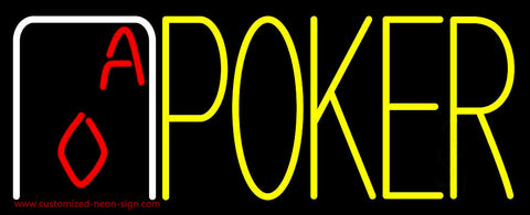 Yellow Poker With Cards Neon Sign