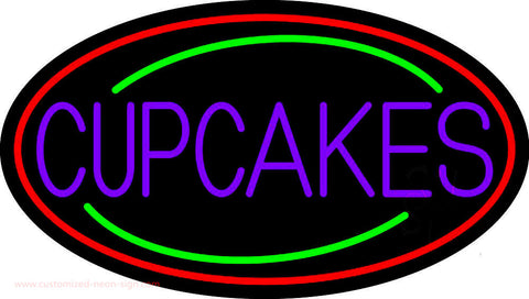 Purple Cupcakes With Cupcake In Between Neon Sign