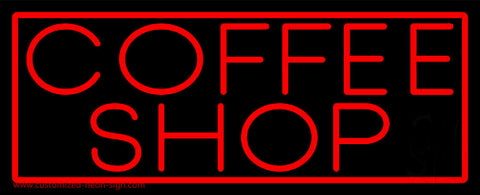Red Coffee Shop With Red Border Neon Sign