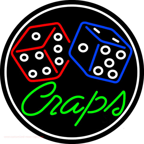 Green Craps Dice 1 Neon Sign