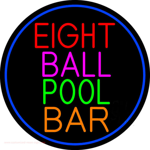 Eight Ball Pool Bar Oval With Blue Border Neon Sign