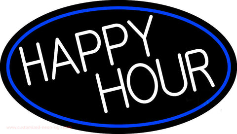 Happy Hours Oval With Blue Border Neon Sign