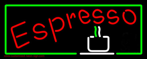 Red Espresso With Green Borders Neon Sign