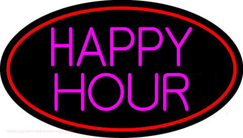 Pink Happy Hour Oval With Red Border Neon Sign