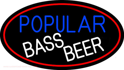 Popular Bass Beer Oval With Red Border Neon Sign