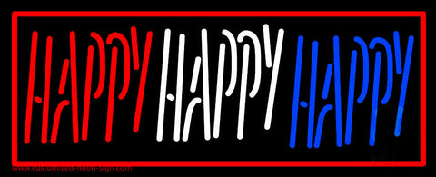 Red Border Happy Neon Sign