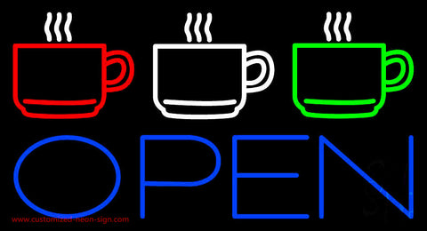 Three Cup Open Neon Sign