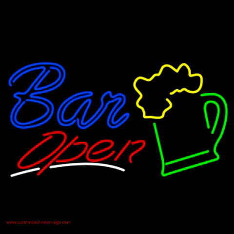 Bar Open With Beer Mug Neon Sign