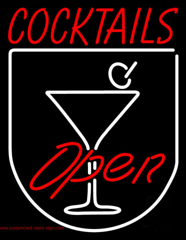 Red Cocktails Open Neon Sign