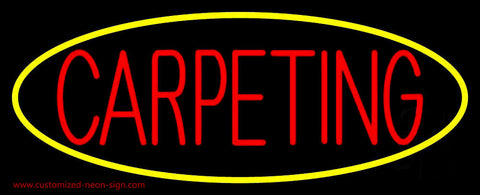 Red Carpeting Yellow Oval Neon Sign