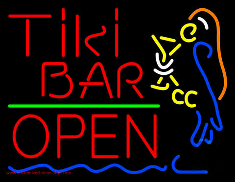 Red Tiki Bar With Parrot Martini Glass Open Neon Sign
