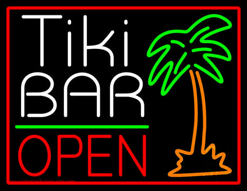 White Tiki Bar With Palm Tree Open Neon Sign