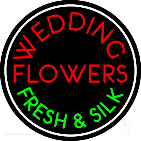 Circle Wedding Flowers Neon Sign