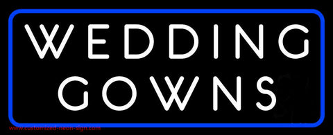 Wedding Gowns Blue Border Neon Sign