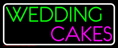 White Border Wedding Cakes Neon Sign
