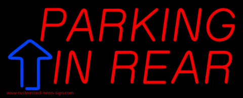 Parking In Rear Block With Arrow Neon Sign