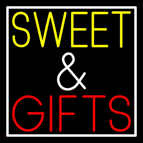 Sweet And Gifts With White Border Neon Sign