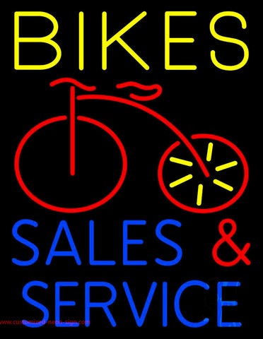 Yellow Bikes Blue Sales And Service Neon Sign